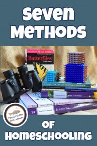 PInnable cover for blog post 7 Methods of Homeschooling showing different homeschool materials from some of the methods.