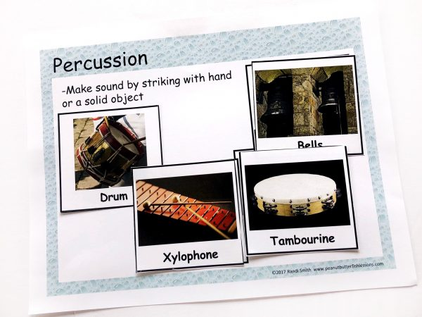 Sorting mats for percussion with definition and pictures of 4 different instruments.