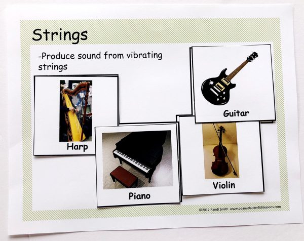 Sorting mats for strings with definition and pictures of 4 different instruments.