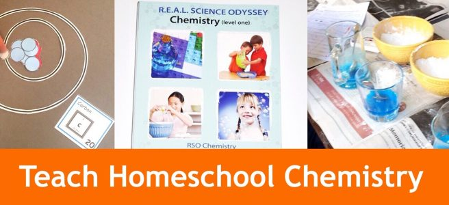 Cover for blog post Teach Homeschool Chemistry to Your Children showing some experiments and the chemistry book.