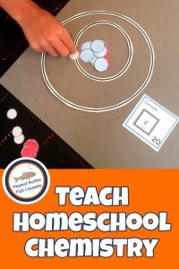 Pinnable cover for the blog post Teach Homeschool Chemistry to Your Children showing a child making an atom with cut out pieces.