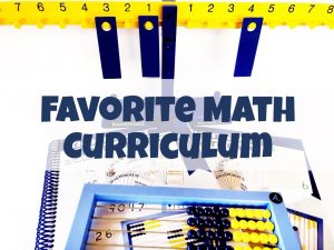"Text that says ""Favorite Math Curriculum"" overlaid on an abacus, math book, and math balance."