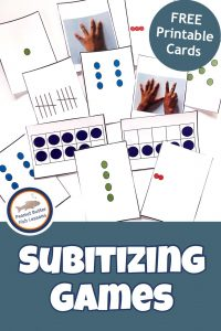 Pinnable Cover for Subitizing Games post showing printable subitizing cards.