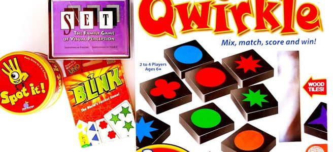 Visual processing games Qwirkle, Set, Blink, Spot It