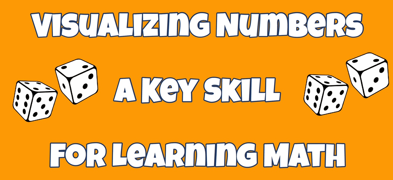 Cover image for post Visualizing Numbers A Key Skill for Learning Math showing the title and drawings of dice.