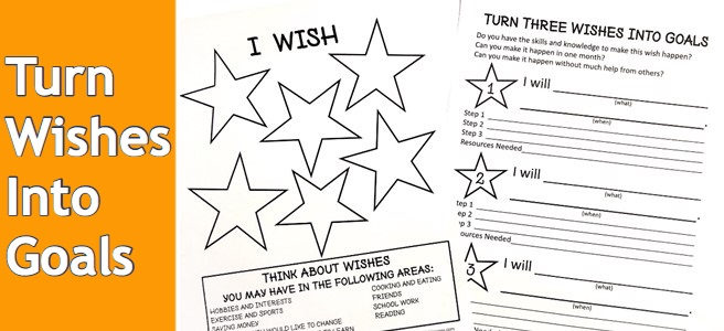 Blog post cover for Turn Your Child's Wishes Into Goals post with FREE printable.