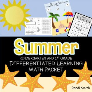 Cover of Summer Kindergarten and First Grade Differentiated Learning Math Packet