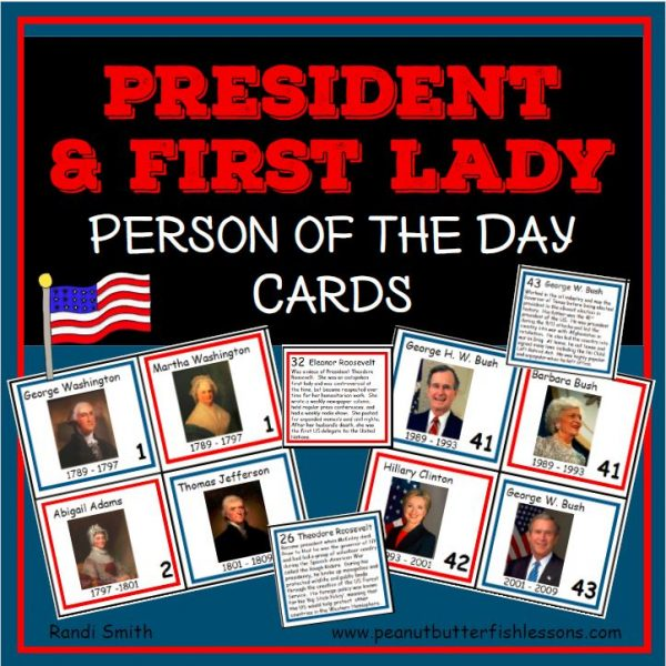 Cover for the product President & First Lady Person of the Day Cards