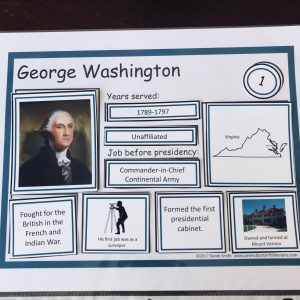 George Washington's sorting mat with facts.