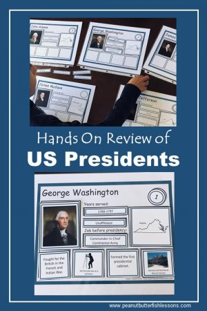 Our sorting mats for hands on review of the US Presidents