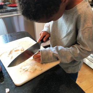 Learning to use a knife safely
