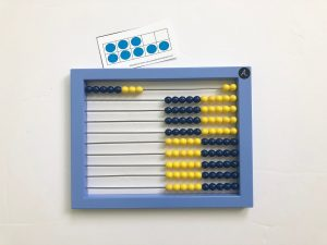 Abacus with 8 entered and a corresponding 10 frame showing 8