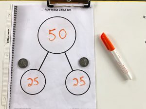 50 decomposed into 25 and 25 with quarters