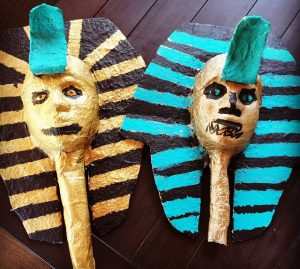 paper-mache Egyptian masks