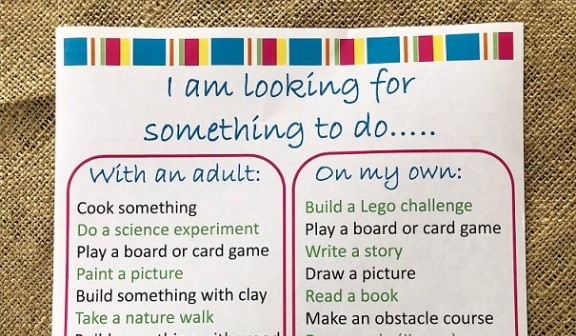 "Free printable title ""I am looking for something to do..."" with list of activities for kids to do when they are bored."
