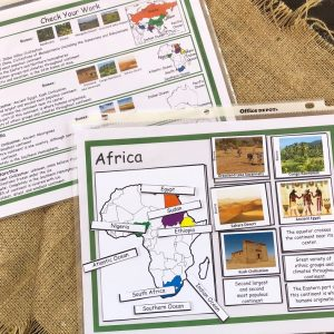 AFrica Continent Sorting Mat with Matching Cards