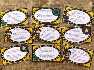 Nine Task Cards from I Can Be a Superhero