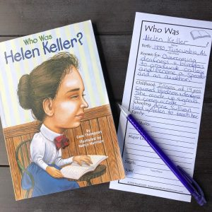 Who Was Helen Keller with printable reading comprehension bookmark.