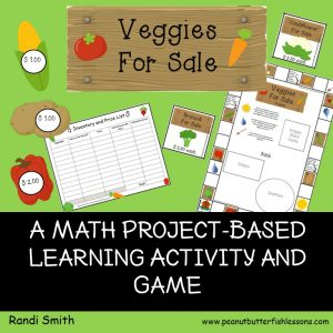 Cover of a math project-based learning activity and game called Veggies for Sale