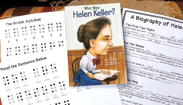 Who Was Helen Keller book, biography notebooking pages, and Braille activity