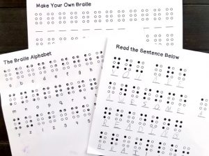 Braille Alphabet with corresponding printable activities