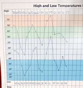 Line graph showing high and low temperaures over a series of days