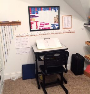 A desk in a small classroom.