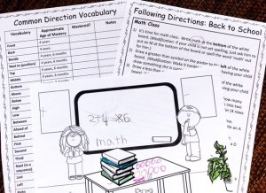 Direction Vocabulary Checklist, Following Direction Story with Completed Picture