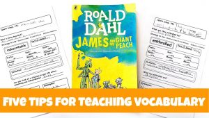 Copy the book James and the Giant Peach with two vocabulary word worksheets