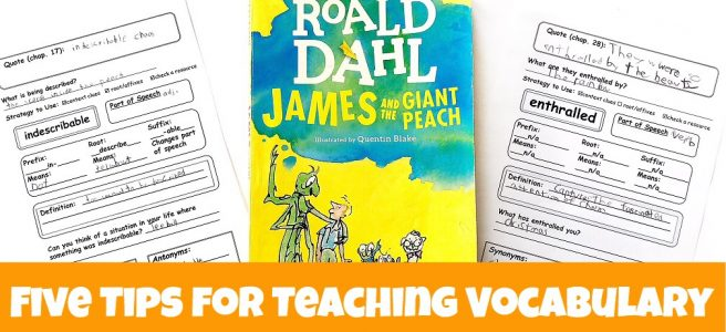 James and the Giant Peach book with printable vocabulary pages on either side of it.