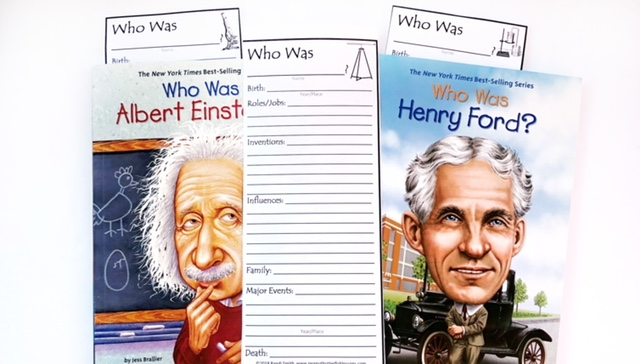 Who Was Albert Einstein? and Who Was Henry Ford? books with notetaking bookmark.