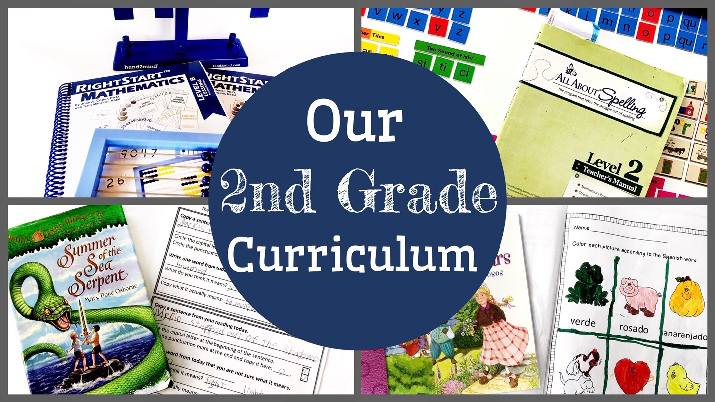 Cover for blog post that says Our 2nd Grade Curriculum and shows a variety of curricula