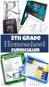 Pinnable cover for blog post 5th Grade Homeschool Curriculum