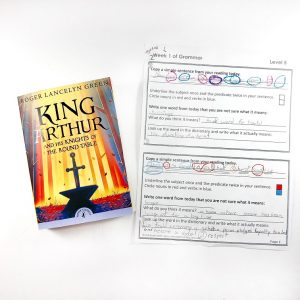 King Arthur book with grammar notebooking page