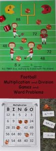 Pin showing a football math game, title of the math packet and a footbal math game.