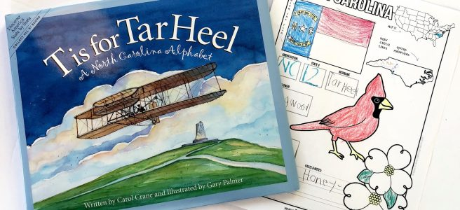 T is for Tar Heel book and NC notebooking page