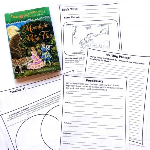 Magic Tree House book with printable pages showing a map, a vocabulary page, a Venn diagram and a writing prompt.
