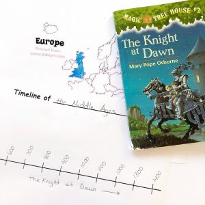 Magic Tree House the Knight at Dawn book with a map of Europe with Great Britain colored in and a timeline of the Middle Ages with the book title written on it.