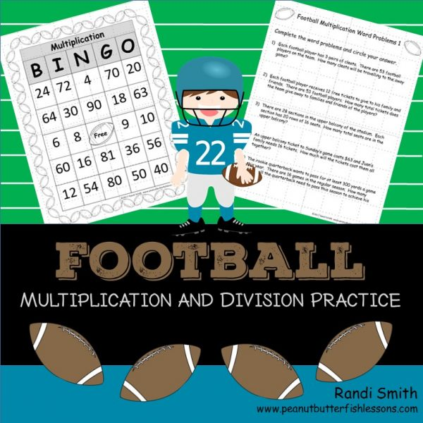 Product Cover for Football Multiplication and Division Practice