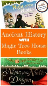 Blog Cover for the post Ancient History with Magic Tree House Books containing the tile and two pictures of books.