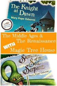 Blog cover that has picture of two books and says The Middle Ages and The Renaissance with Magic Tree House