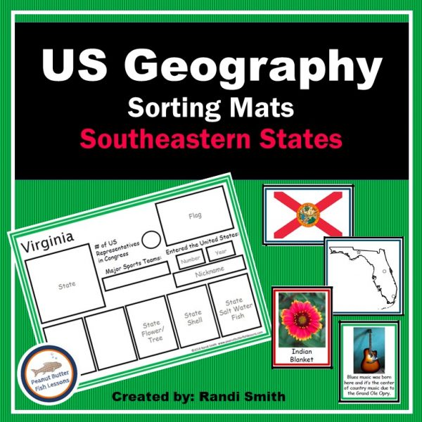 Cover for US Geography Sortings Mats Southeastern States