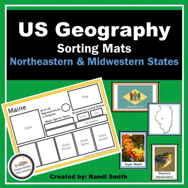 Cover for US Geography Sorting Mats: Northeastern & Midwestern States