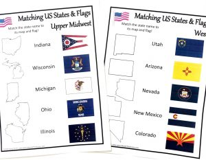 Two printed worksheets. Each showing the outline, name and flag for five different states for children to match by drawing a line.