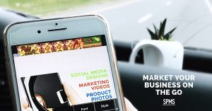 "Phone in a car and text ""Market Your Business on the Go"""