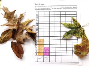 Bar graph showing more brown leaves than leaves of another color.