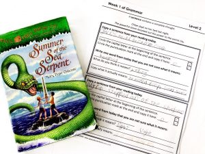Summer of the Sea Serpent book with a completed grammar notebooking page