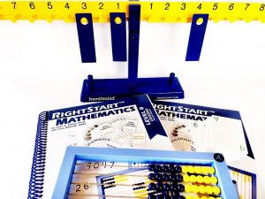Math balance, books for RightStart math Level B and an abacus
