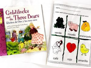 Goldilocks and the 3 Bears book in Spanish and English and a spanish coloring book