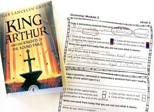 Book, King Arthur, and a grammar notebooking page
